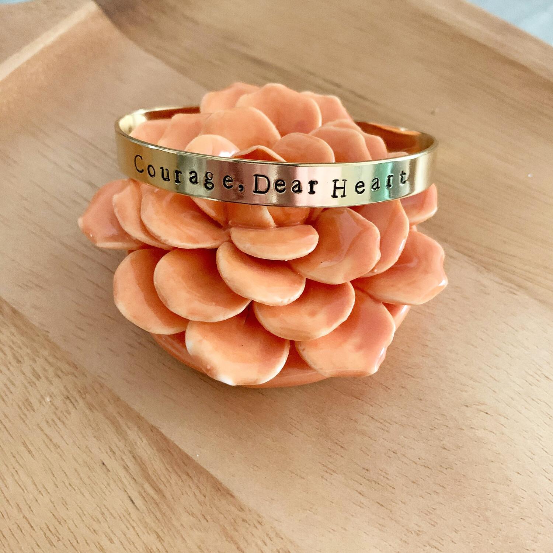 Courage, Dear Heart Brass Cuff Bracelet