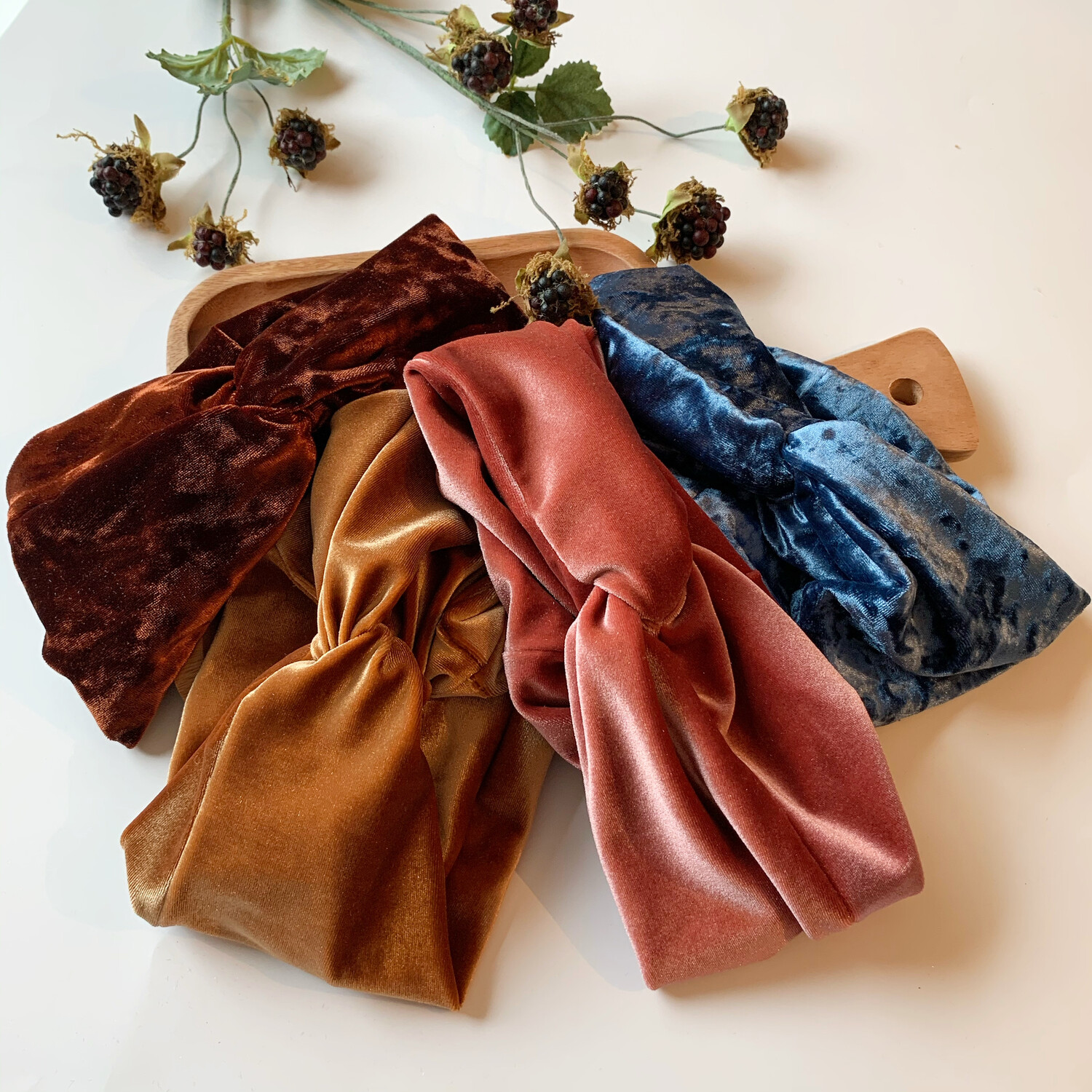 Deep Rust (Crushed Velvet) Boho Turban Thick Wide Wrap - Adult