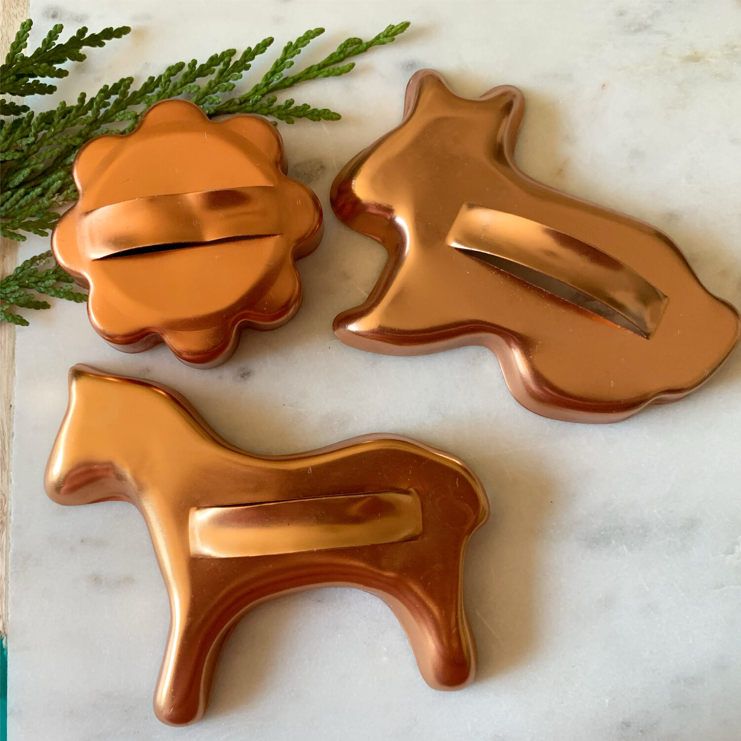 Vintage Cookie Cutter Set- Flower, Bunny And Horse