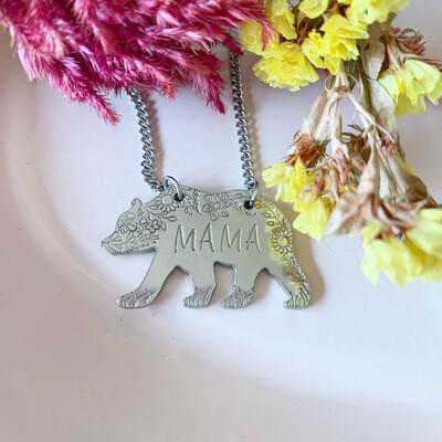 Mama Bear Necklace -Silver