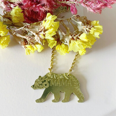 Mama Bear Necklace -Gold