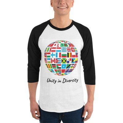 Unity in Diversity 3/4 sleeve raglan shirt