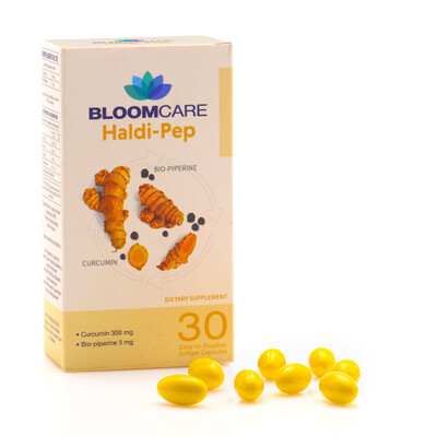 Haldi-Pep 30 Softgels, Ultra Potent Curcumin (95%) from Organic Turmeric enhanced with Piperine and Virgin Coconut oil