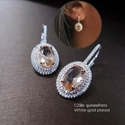 ต่างหู ชุบทองคำขาว CZ 1.5x3.5 cm.