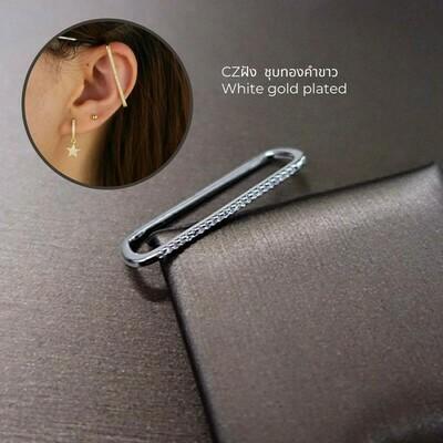 เกี่ยวหู ชุบทองคำขาว CZ 1x3.5 cm.