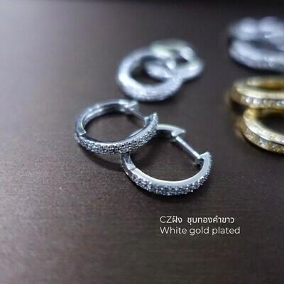 ต่างหู ชุบทองคำขาว CZ D=1.6 cm.