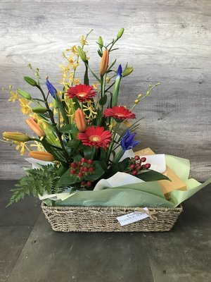 Basket of Flowers with Chocolates