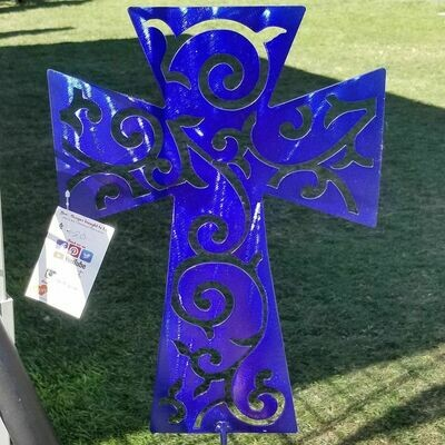Yard Stake Topper - Swirly Cross