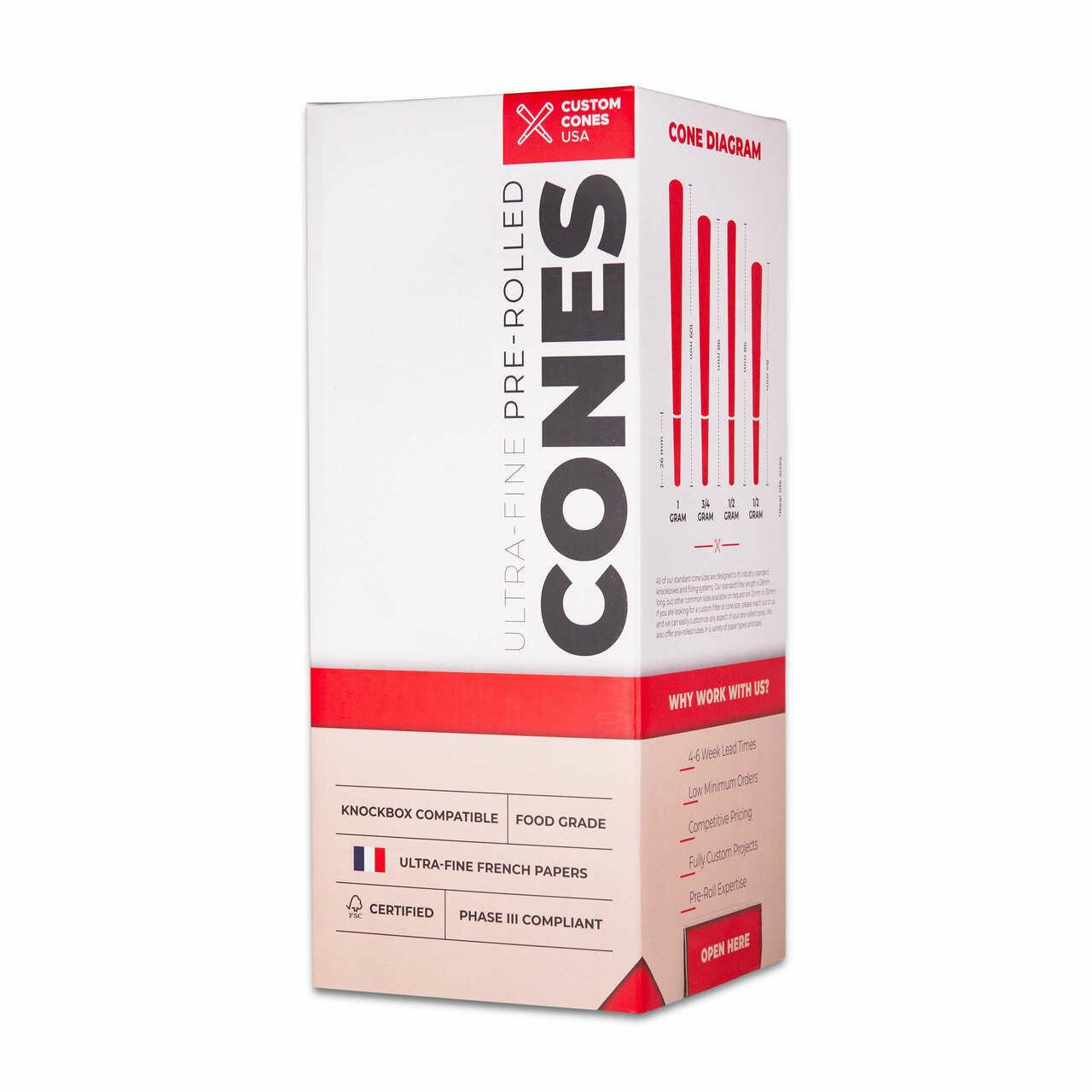 Custom Cones 84mm Unrefined Brown or White  (800 per box)