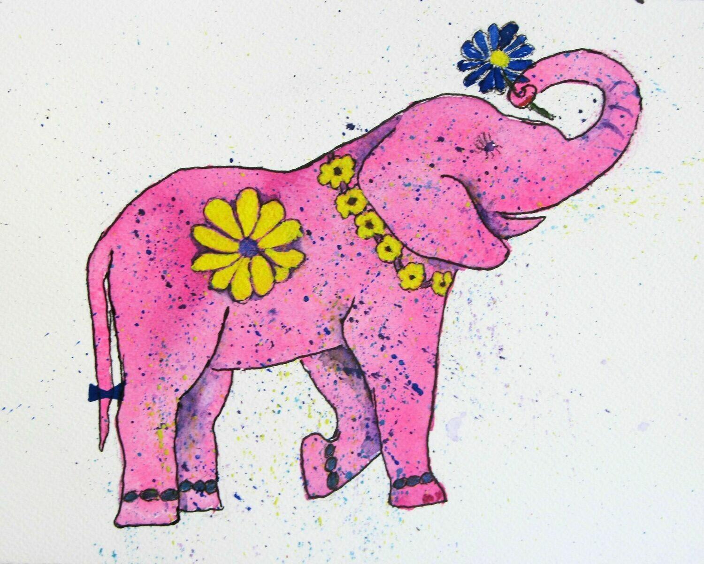 Elephant and Flowers 11x14