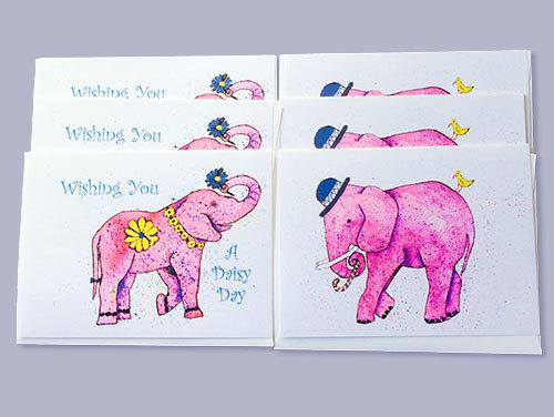 Happy Elephant Note Cards (set of 6)