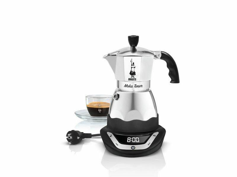 Bialetti Espressokocher Moka Timer Silber Schwarz, 6 Tassen