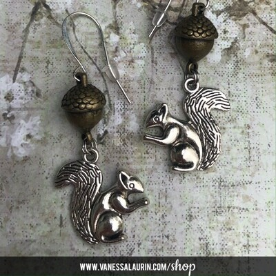 Woodland Whimsy Collection: Squirrel and acorn earrings