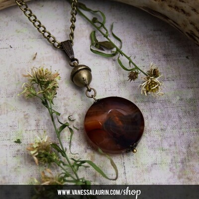 Woodland Whimsy Collection: Acorn and agate pendant