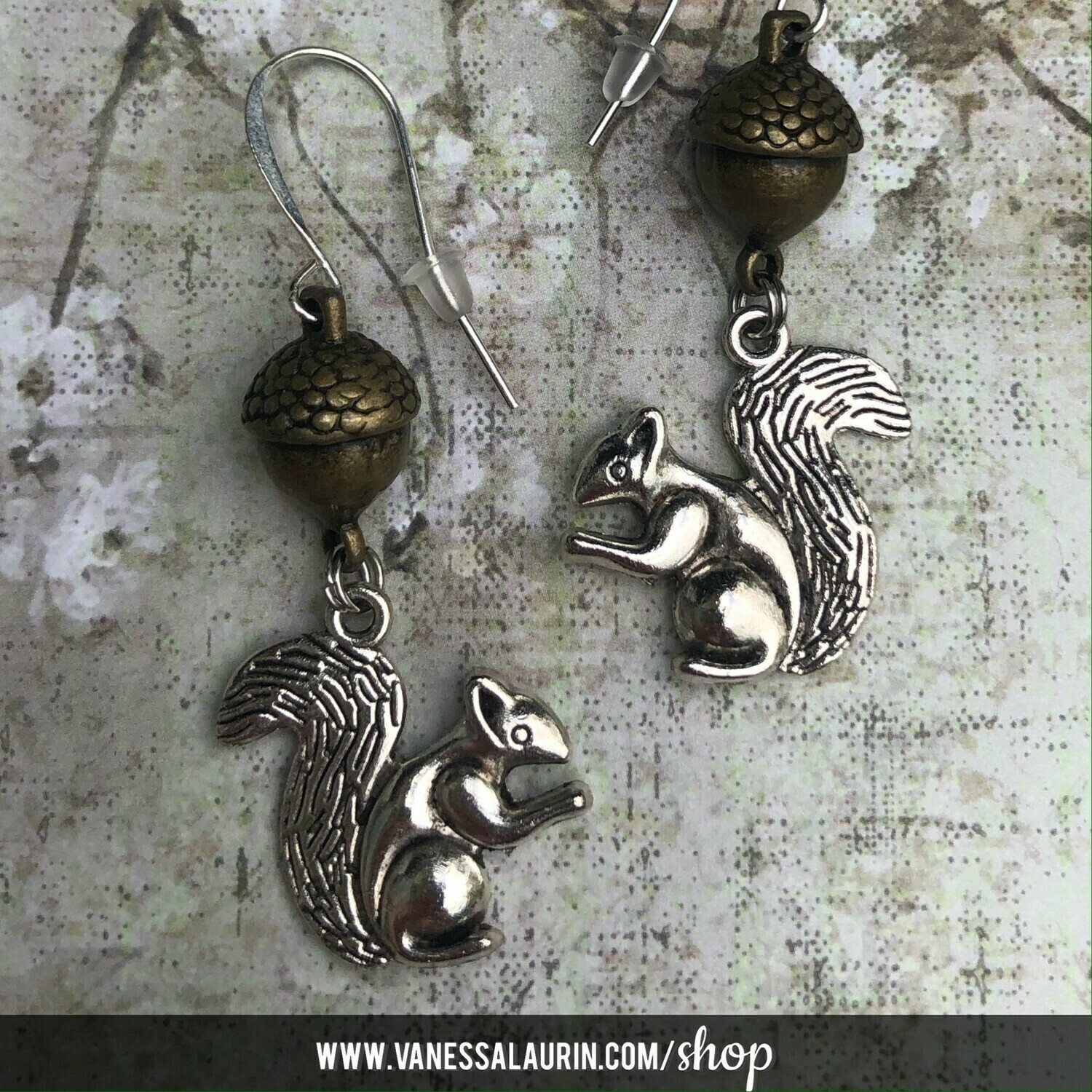 Woodland Whimsy Collection: Squirrel and acorn earrings (see colour options)