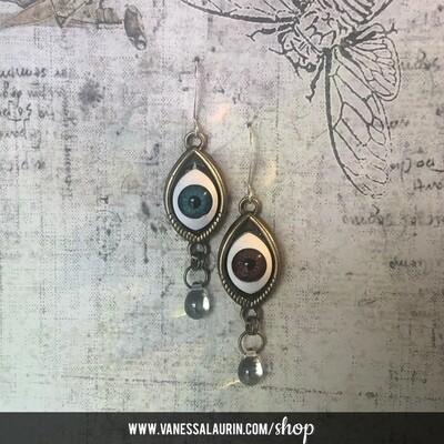 Weeping Eye earrings - Bowie irises (Brass)