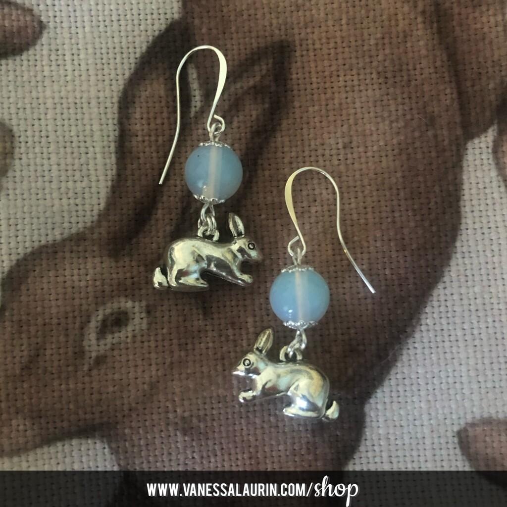 Moonbeams Collection: Opalite rabbit earrings