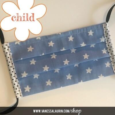 CHILD Pleated mask: Stars, white on blue