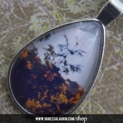 Fall Foliage Collection: Teardrop pendant 1 (Bright silver)