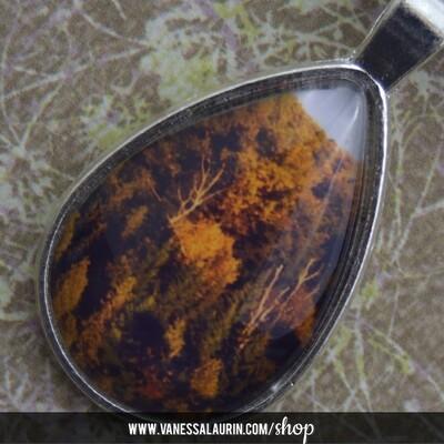 Fall Foliage Collection: Teardrop pendant 3 (Bright silver)