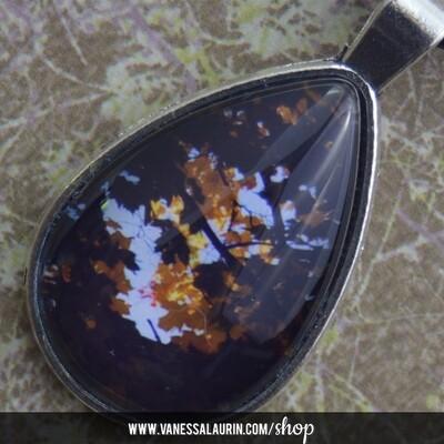 Fall Foliage Collection: Teardrop pendant 7 (Antique silver)