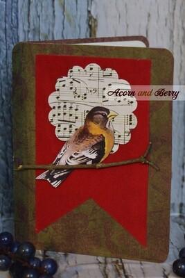 On Velvety Wings Series: Evening Grosbeak Notecard