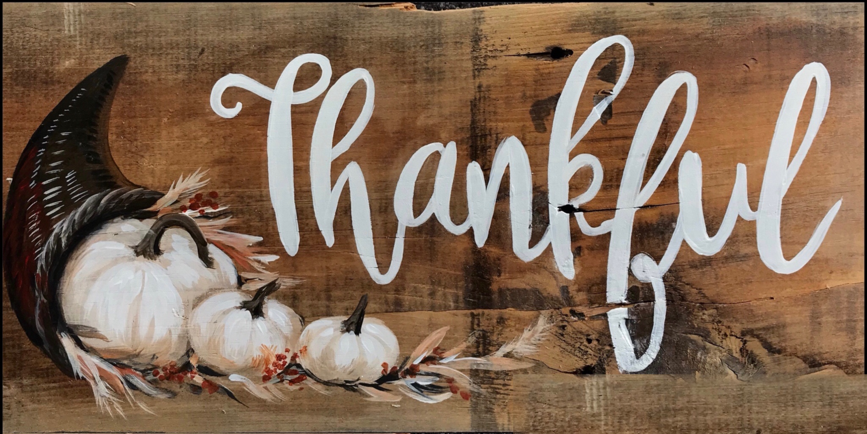 Take Home kit - Thankful - painted on wood