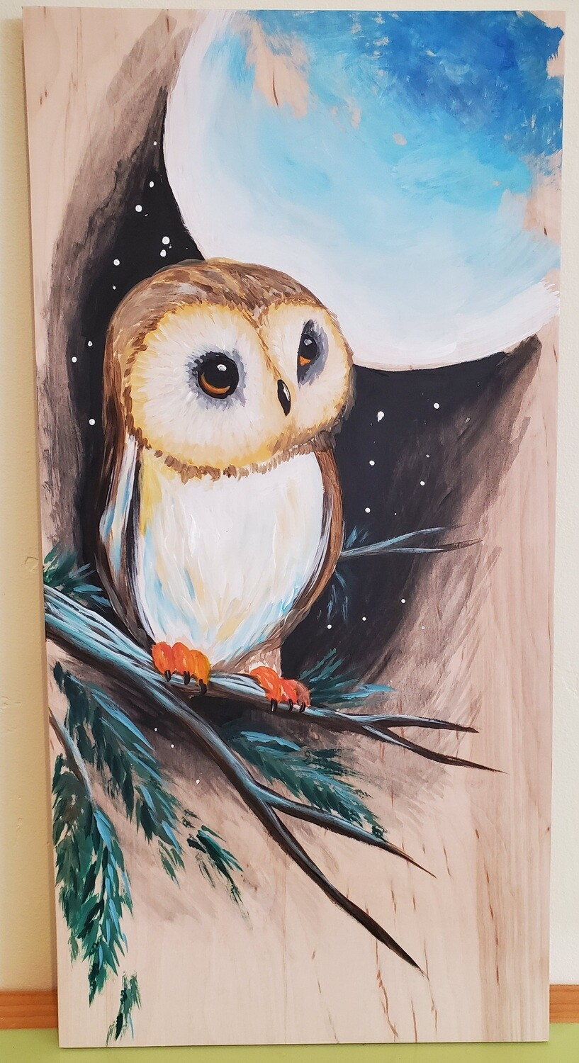 In Studio or Take Home kit - Owl painted on wood