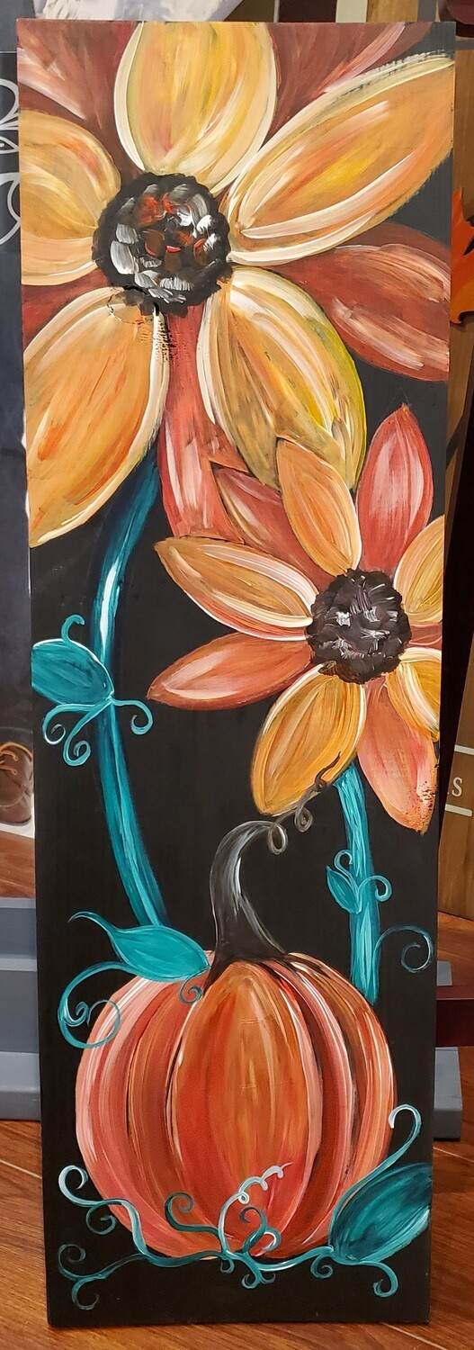 In Studio or Take Home kit - Sunflower and Pumpkin painting on wood