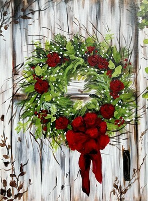 In Studio - Holiday Wreath Painting