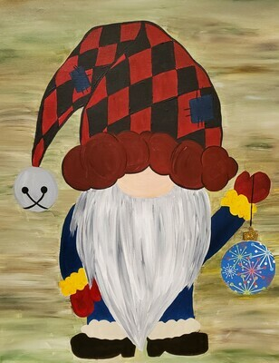 In Studio - Christmas Gnome painting