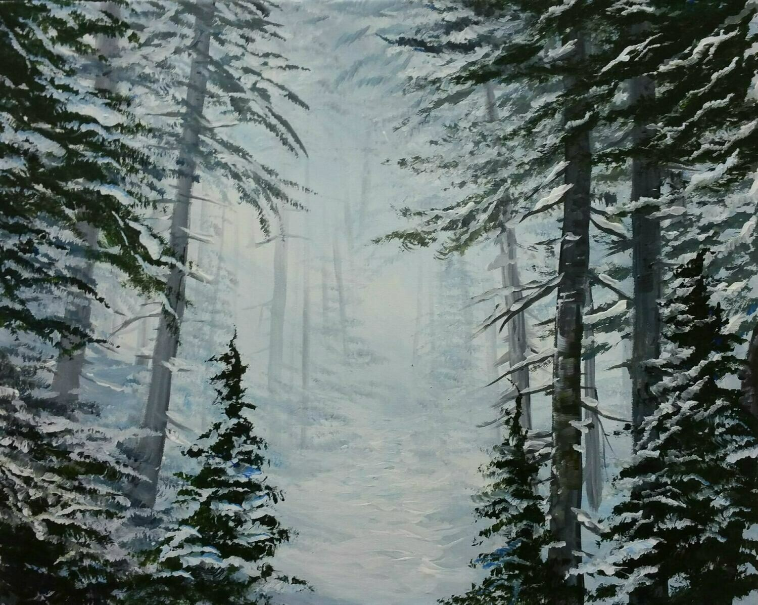 In Studio - Frozen Forest painting