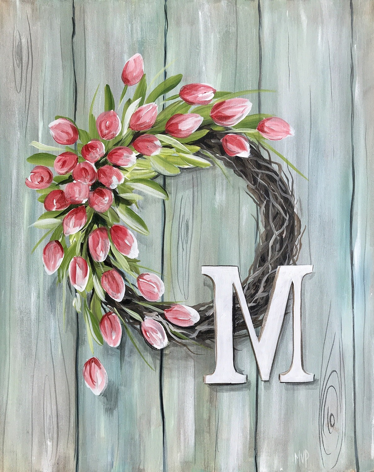 In Studio - Wreath with Tulips painting