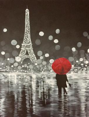 In Studio - Night in Paris Painting