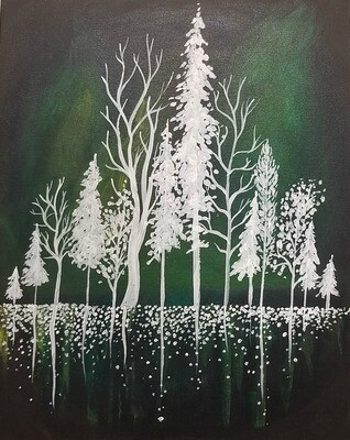 In Studio or Take Home Kit - Forest Silhouette painting
