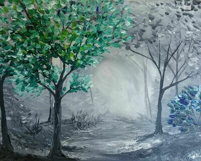 In Studio - Jeweled Tree painting