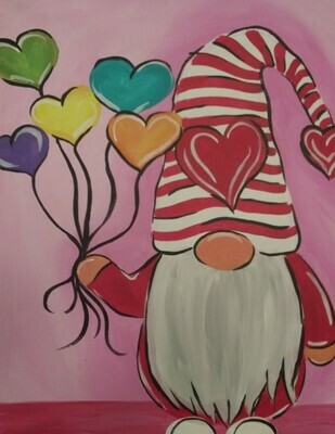 In Studio or Take Home Kit - Valentine's Gnome painting