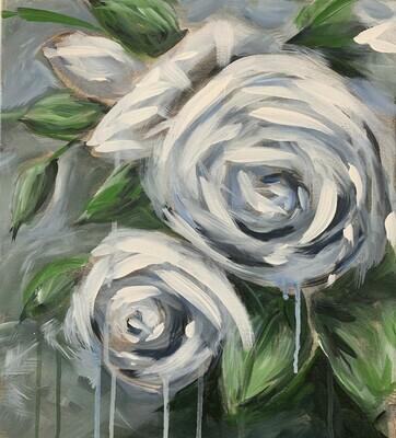 In Studio - White Roses painting