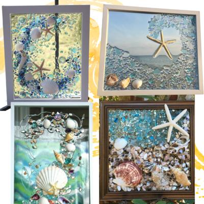 In Studio - Shell/Sea Glass Art