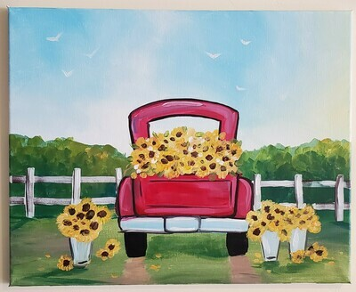 In Studio - Classic Truck with Daisies painting