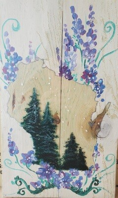 WI Forest and Flowers Painting on Wood