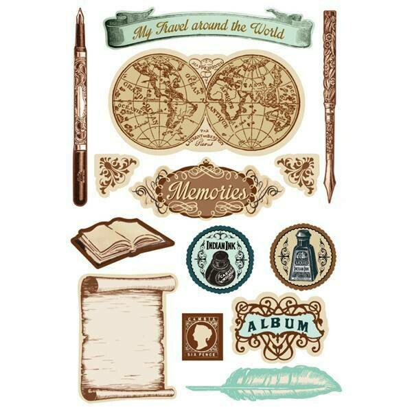 World Memory Cardstock Stickers