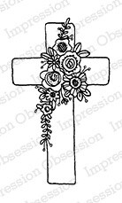 Cross and flowers stamp