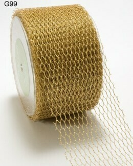 2 Inch Metallic Gold Net Mesh Ribbon with Cut Edge