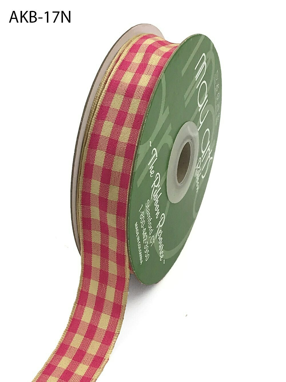 7/8 Inch Woven Ivory Checkered Ribbon with Woven Edge