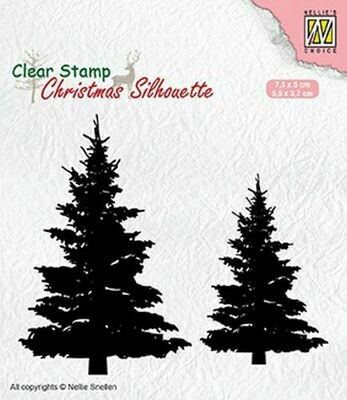 Christmas Silhouette Fir Trees