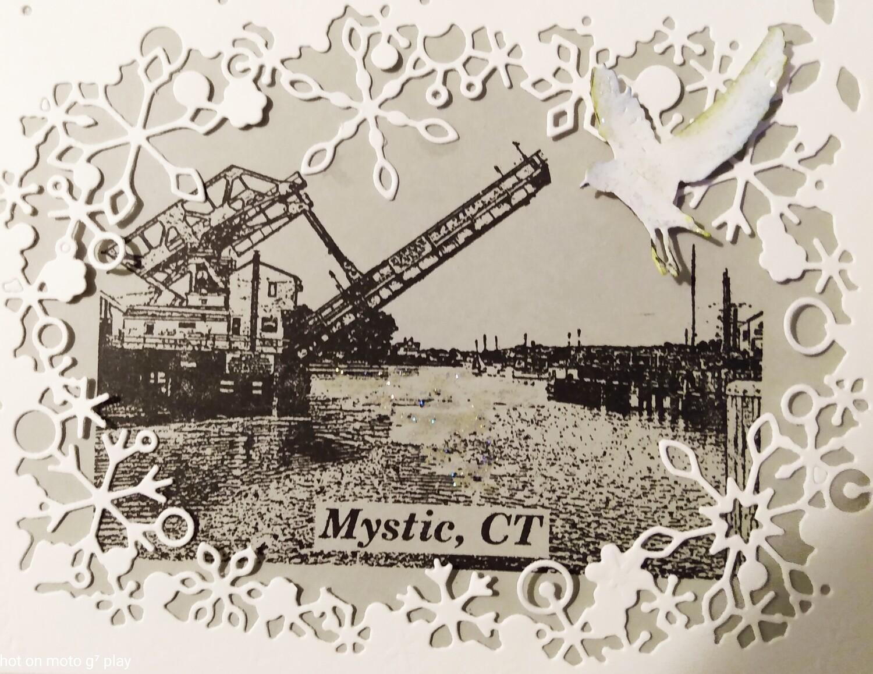 Mystic Bridge Winter Scene Greeting Card