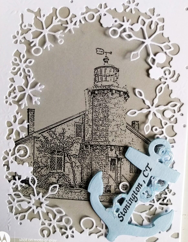 Stonington Lighthouse Winter Scene Card Kit