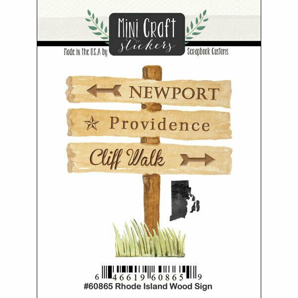 Rhode Island Wood Sign Post Sticker