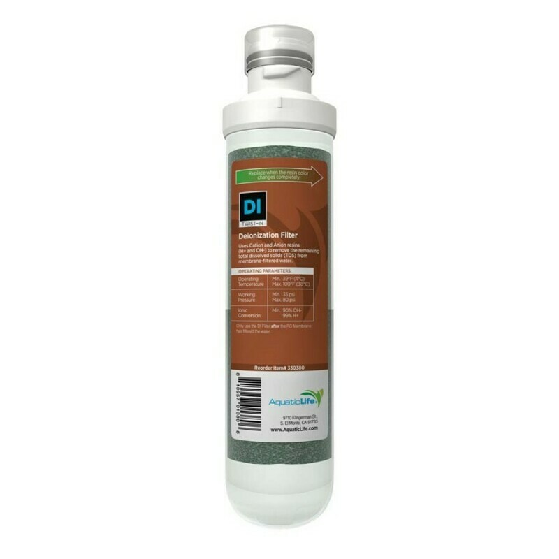 Aquatic Life Twist-In Mixed Bed Color Changing Resin Deionization Cartridge 1ea
